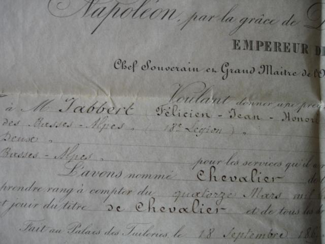 diplôme ordre impérial de la legion d'honneur d'un gendarme Dsc09258