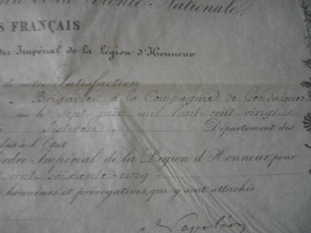 diplôme ordre impérial de la legion d'honneur d'un gendarme Dsc09259