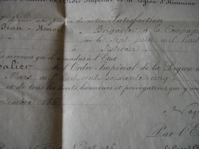 diplôme ordre impérial de la legion d'honneur d'un gendarme Dsc09260