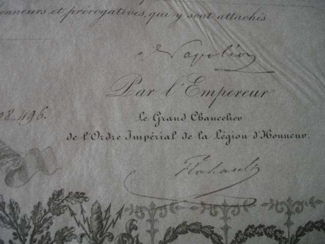 diplôme ordre impérial de la legion d'honneur d'un gendarme Dsc09263