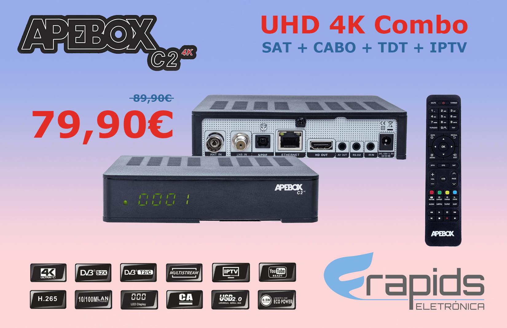 APEBOX C2 4K UHD COMBO (SAT+CABO+TDT+IPTV) - MELHOR BOX AO MELHOR PREÇO! Final10