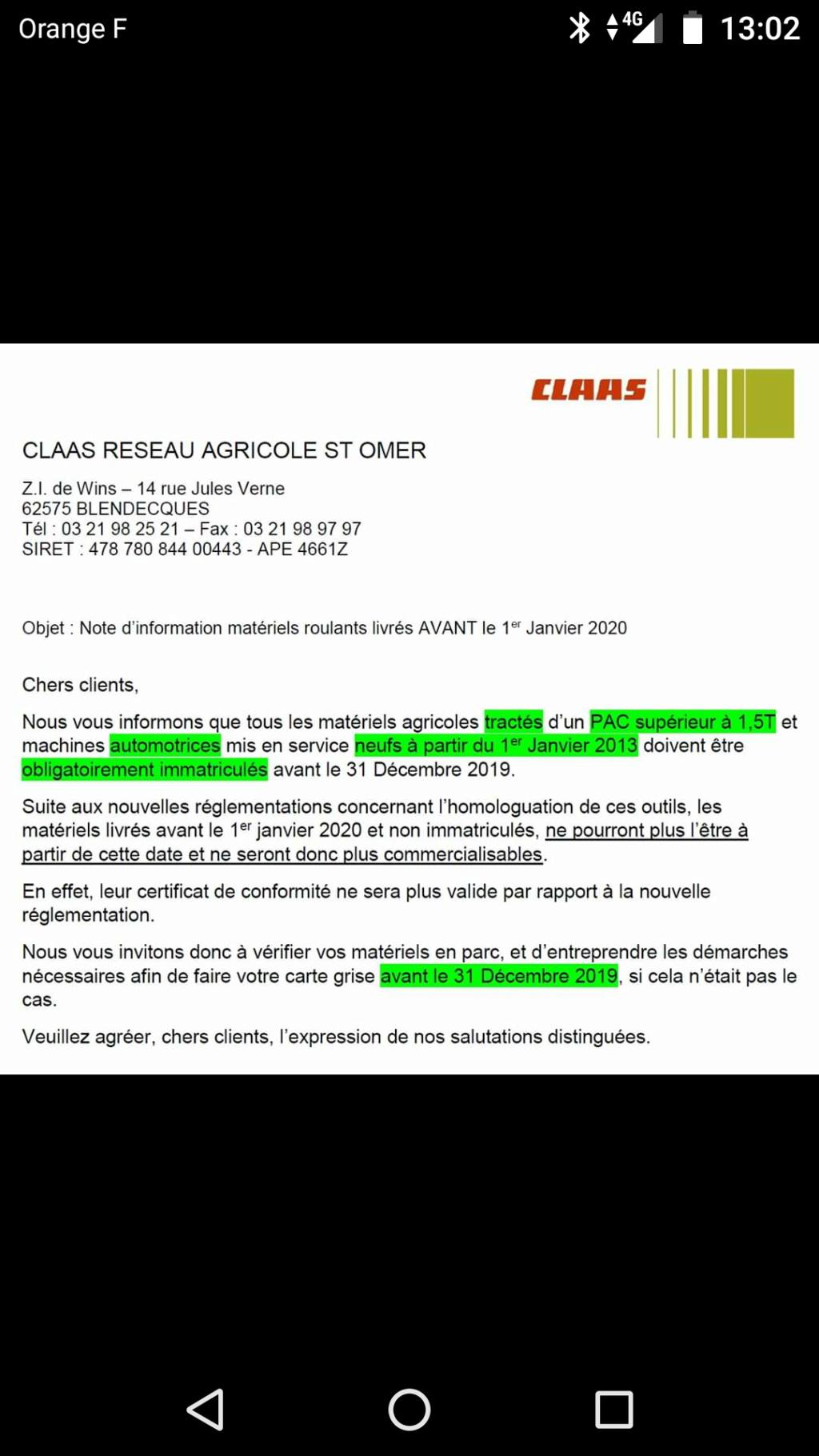 Nouvelle réglementation sur l'immatriculation de vos matériels agricoles. Screen19
