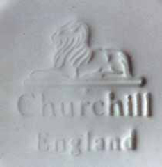Churchill lion figurine on plinth, Shiny blue glaze Church10
