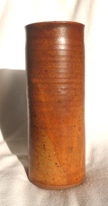 Stoneware cylinder vase possible mark G E Giles plus Tower mark? Cylind12