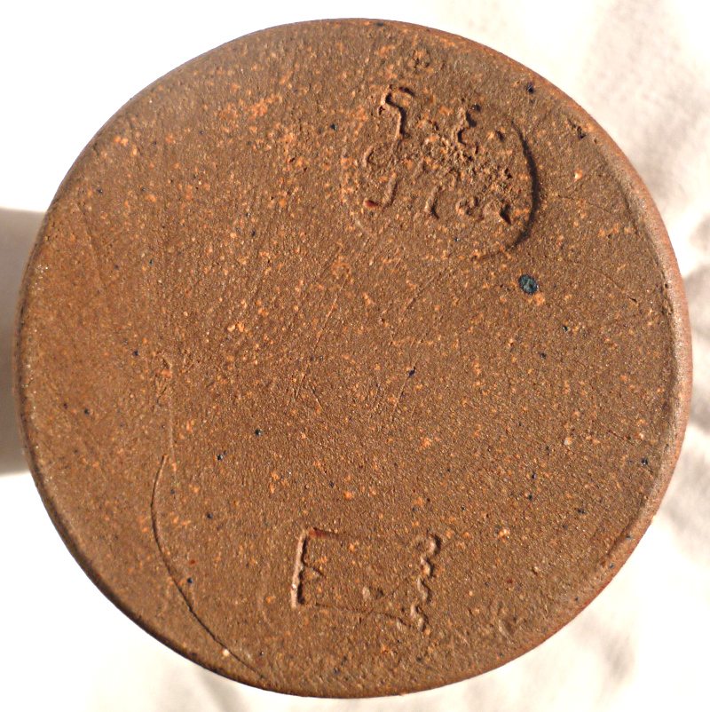 Stoneware cylinder vase possible mark G E Giles plus Tower mark? Cylind13