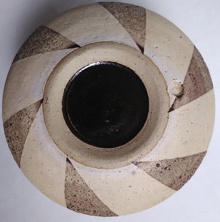 Geometric design volcanic glaze stoneware cylinder ... European? Geo310