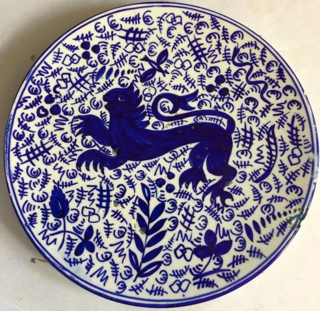 Large white / blue vase signed R.R. - maiolica - Florence, Tuscany  Lion110