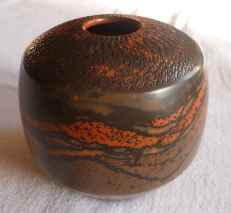 Smooth Chattered Ovoid Vase with glazes? Orange10