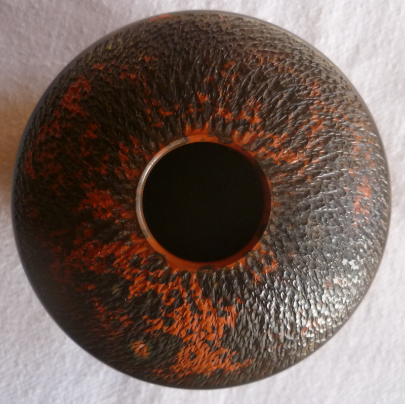 Smooth Chattered Ovoid Vase - Loïc GAIGNART, France Orange12