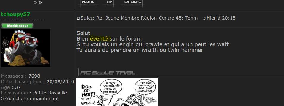 Jeune Membre Région-Centre 45:  Tohm Explic10