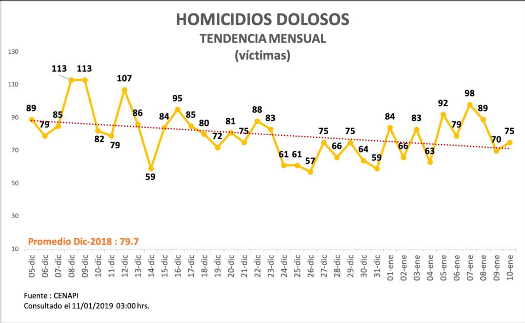 Informe de incidencia delictiva en Mexico Homici10