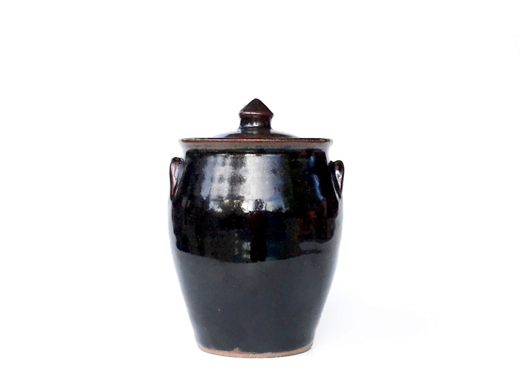 Tenmoku Lidded Jar signed ii or jj (?) similar to Jeff Shapiro, but isn't. 111