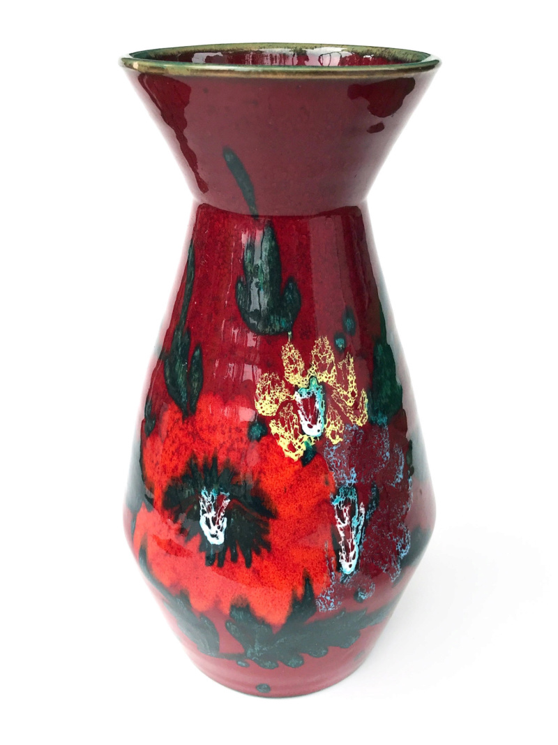 Please Help ID: Looks Italian or W. German Tall Chrome Atomic Red Vase  B12