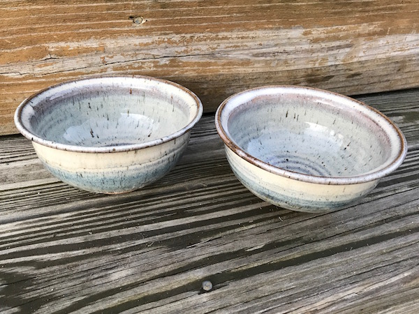 Studio Pottery Footed Bowls (Pair), MF or EF Incised Mark Img_2012