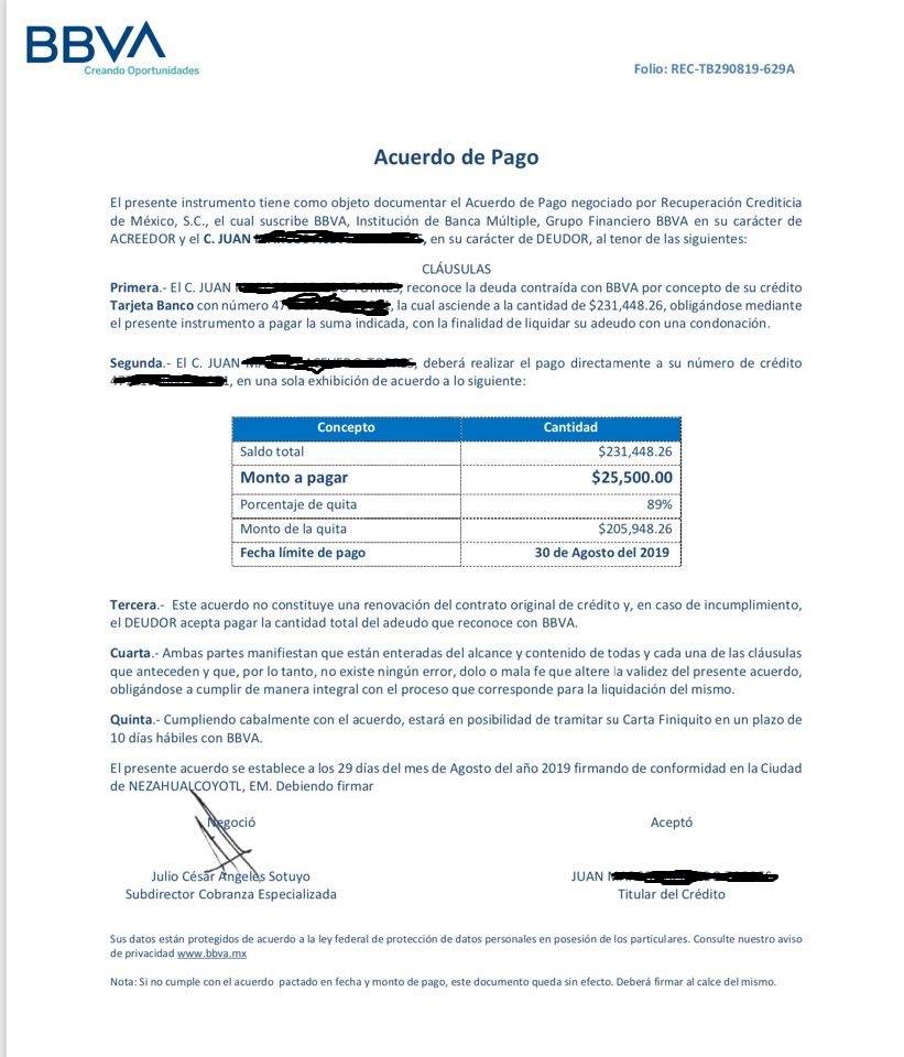 Duda con carta convenio Recremex-Bancomer Carta11