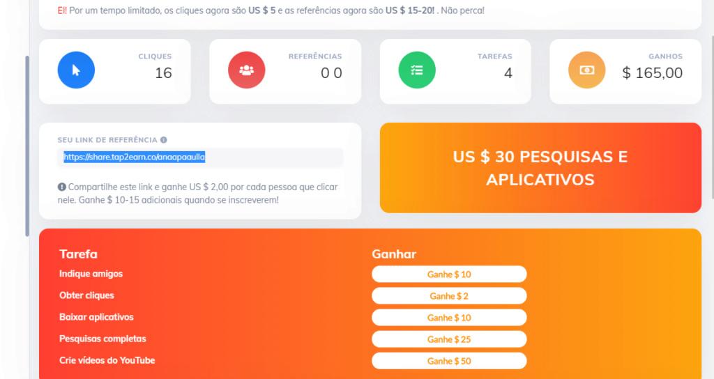 [Testar] Tap2earn - paga por fazeres tarefas, por cliques e por angariar pessoas para o site Prova10