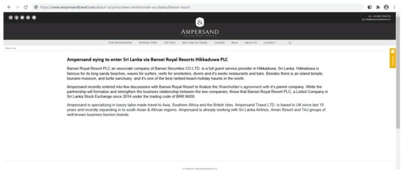 Bansei Royal Resort (BRR.N0000) Sudden Price up  Ss11