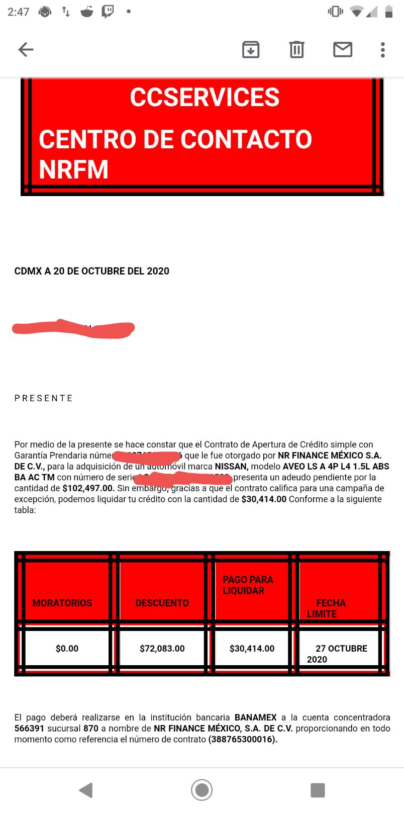 Acuerdo para obtener factura de carro Crédito Automotriz Screen11