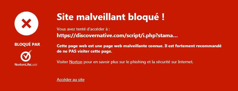 Site malveillant bloqué par antivirus Captur10