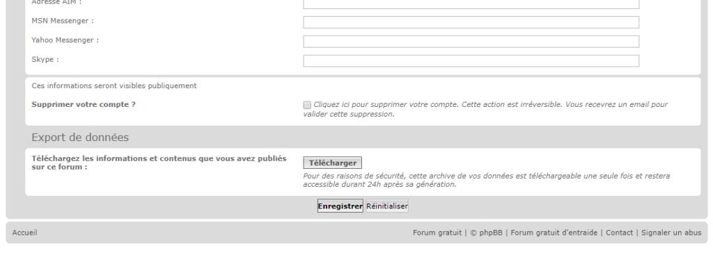 RGPD : Export des données personnelles 113