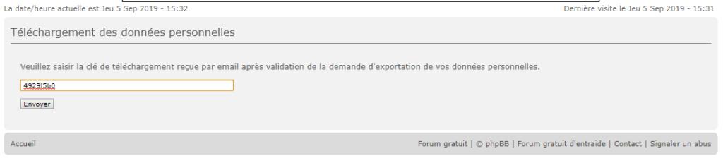 RGPD : Export des données personnelles 212