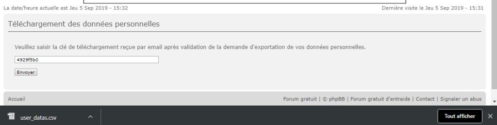 RGPD : Export des données personnelles 310