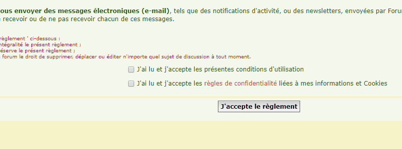 Inscription impossible sur mon forum (template agreement à mettre à jour). Aggree10
