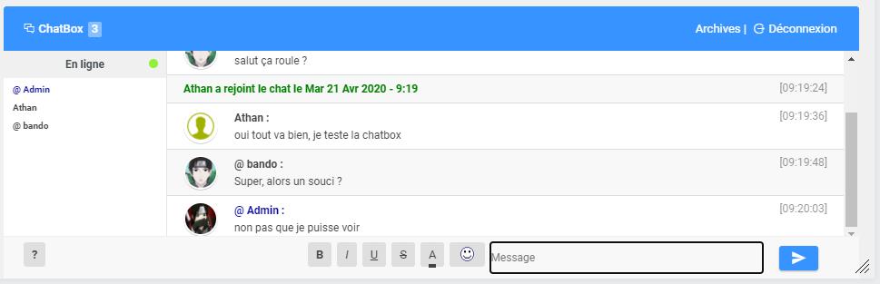 la chatbox affiche les messages un à un Chatbo10