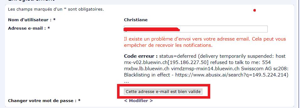 Problème e-mails (notifications Dfff10