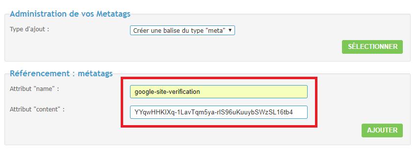 Intégrer Google Search Console sur un Forumactif Meta-s11