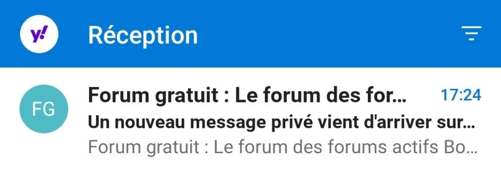 Je ne reçois pas l'email disant que j'ai un nouveau membre .  Screen18