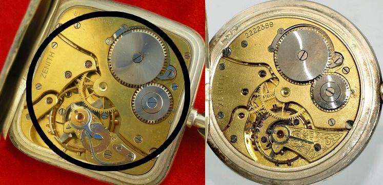 L'un des trois exemplaires de la seule montre de poche au calibre carré  Montag14