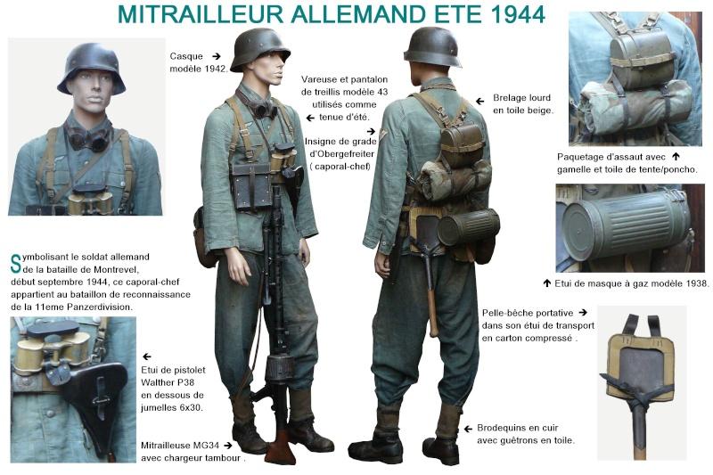 1er Tireur Mg34 , 11eme Panzerdivision Montrevel 1944 Texte215