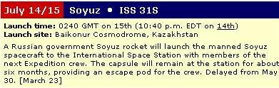 (TMA-05M): Lancement, amarrage & retour sur Terre. Soyouz13