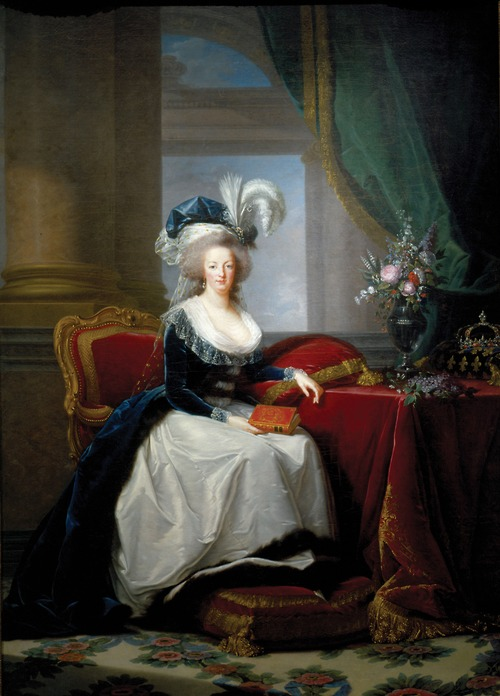 Marie-Antoinette au livre en robe bleue Ma178810