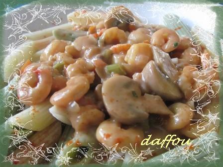 Pâtes, sauce aux champignons et crevettes Nouill12