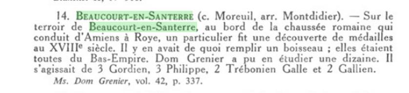 CARTE ARCHEOLOGIQUE de BEAUCOURT-EN-SANTERRE (3.4 km de Le Quesnel) Beauco10