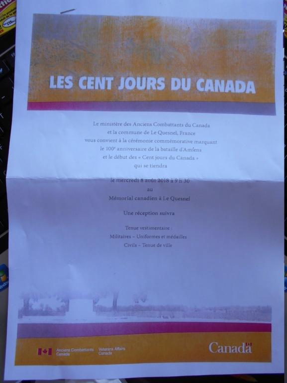 08 aout 2018 : commémoration cimetière canadien LE QUESNEL Dscn1011