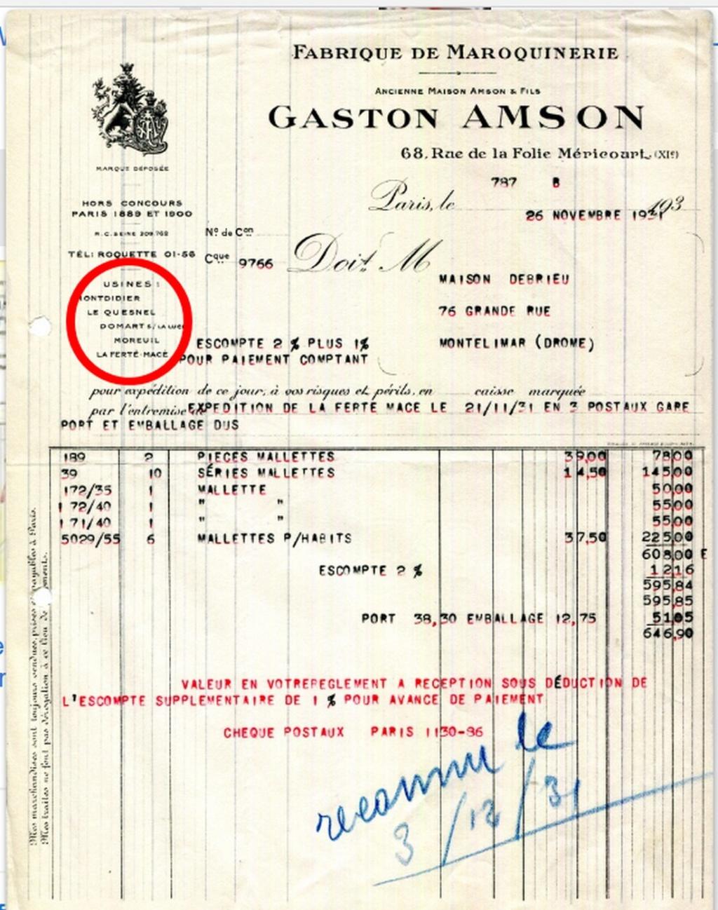 la maroquinerie Gaston AMSON Factur10