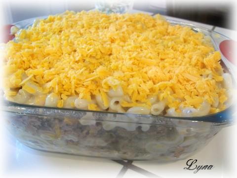 Macaroni boeuf, crème de champignon et cheddar Macaro10