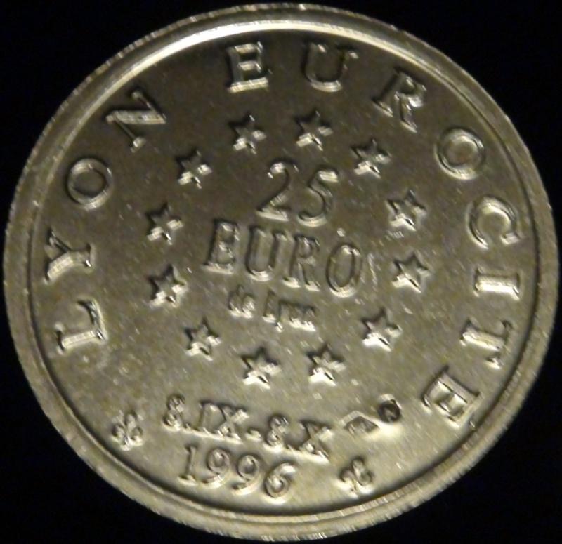 69 lyon 25 euros centenaire de fourviere 1896 1996 eurocite Dsc02010
