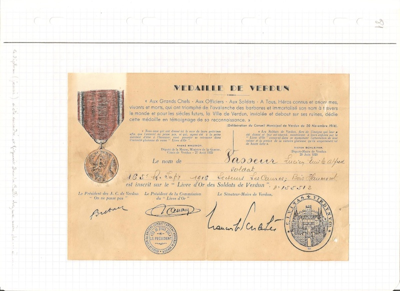 VERDUN Le Premier Choc à la 72e Division Medail11