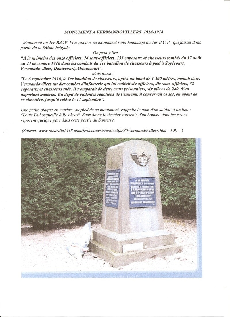 Monument de VERMANDOVILLERS 1 BCP  1914- 1918 Monume13