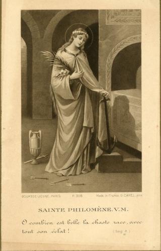 Urna de santa Filomena / Haz de tres flechas entre palmas - s. XIX Img00710