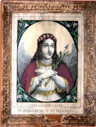 Urna de santa Filomena / Haz de tres flechas entre palmas - s. XIX P1070411