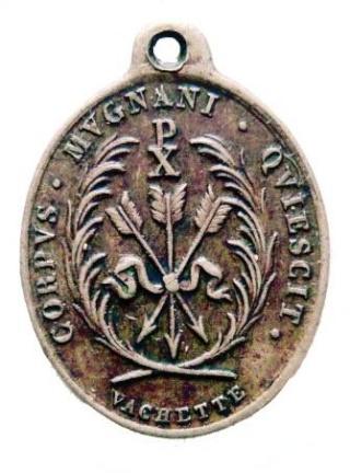 Urna de santa Filomena / Haz de tres flechas entre palmas - s. XIX Phil0410