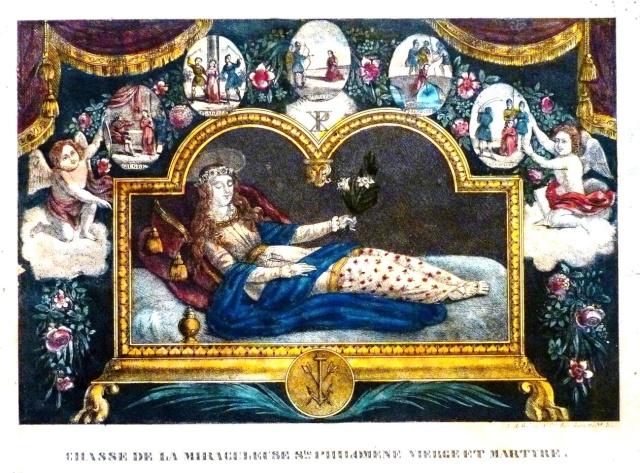 Urna de santa Filomena / Haz de tres flechas entre palmas - s. XIX Philo310
