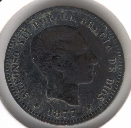 5 Cts. Alfonso XII (Barcelona, 1877 d.C) Alfons13
