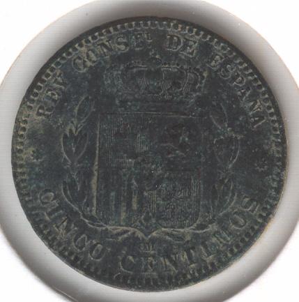 5 Cts. Alfonso XII (Barcelona, 1877 d.C) Alfons14