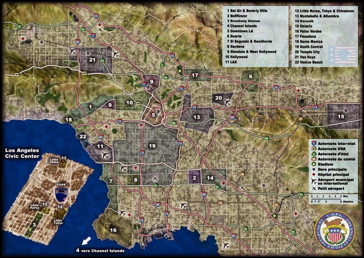 Cartes (Los Angeles, Californie) Mapla10
